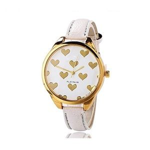 Women's Watch with Heart Design Details White